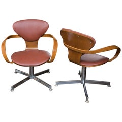 Pair of Norman Cherner Style Pretzel Chairs