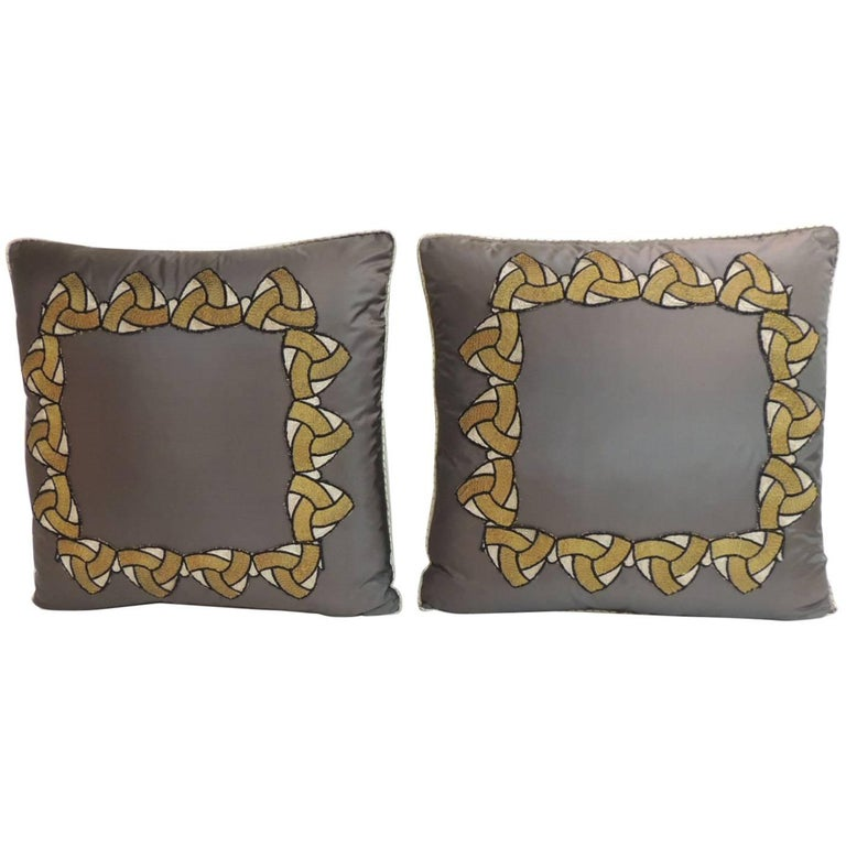 Pair of Silk Dark Grey Applique Decorative Deco Pillows For Sale at 1stdibs