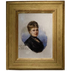 Portrait of Marie De Colbert, Oil on Mahogany Panel Signed Faivre-Duffer, 1882