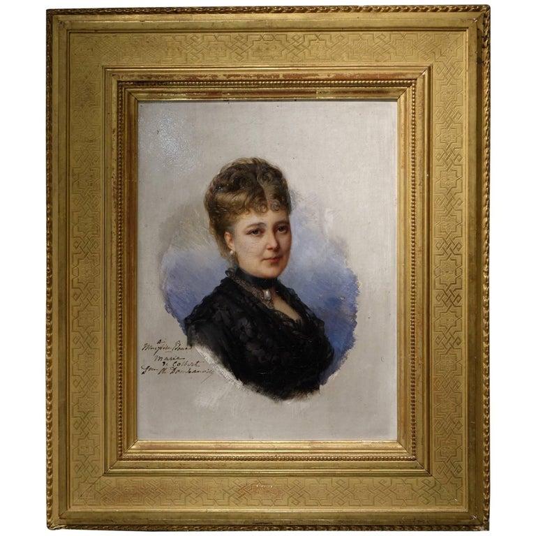 Portrait of Marie De Colbert, Oil on Mahogany Panel Signed Faivre-Duffer, 1882  For Sale