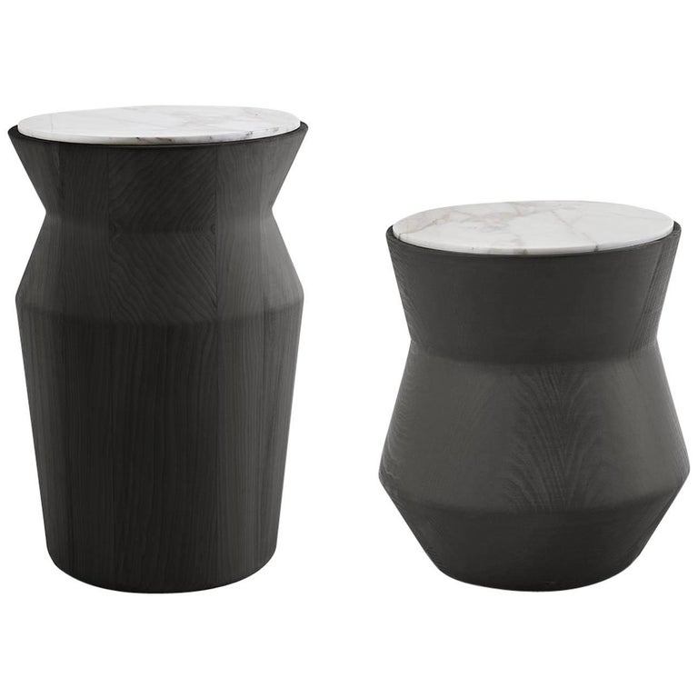 Dama Side Table in Solid Wood and Marble by Gallotti & Radice For Sale