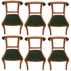 1970's  wooden French Ram's Head Chairs with velvet upholstery