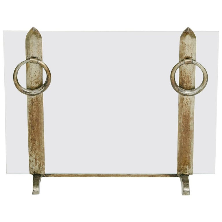 French Iron and Glass Fireplace Screen For Sale