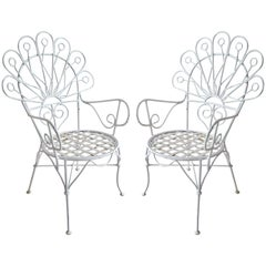 """Pair of Whimsical 1940s Hollywood Regency """"Peacock"""" Painted Iron Garden Chairs"""