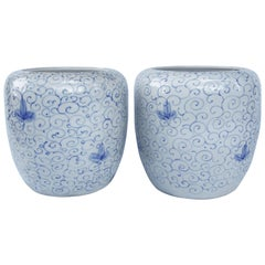 Pair of Chinese Blue and White Ceramic Planters