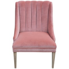 Pink Velvet and Bleached Wood Dunbar Style Lounge Chair