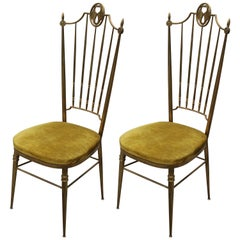 Pair of Italian Ponti Style Hollywood Regency Brass and Yellow Velvet Chairs