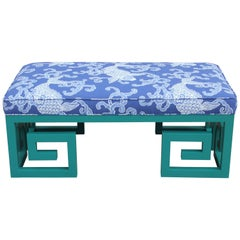 Custom Teal Blue Greek Key Bench with Blue Koi Fish Fabric