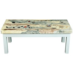 Rose, Pink and Grey Marbleized Concrete Coffee Table, 1950s Italy