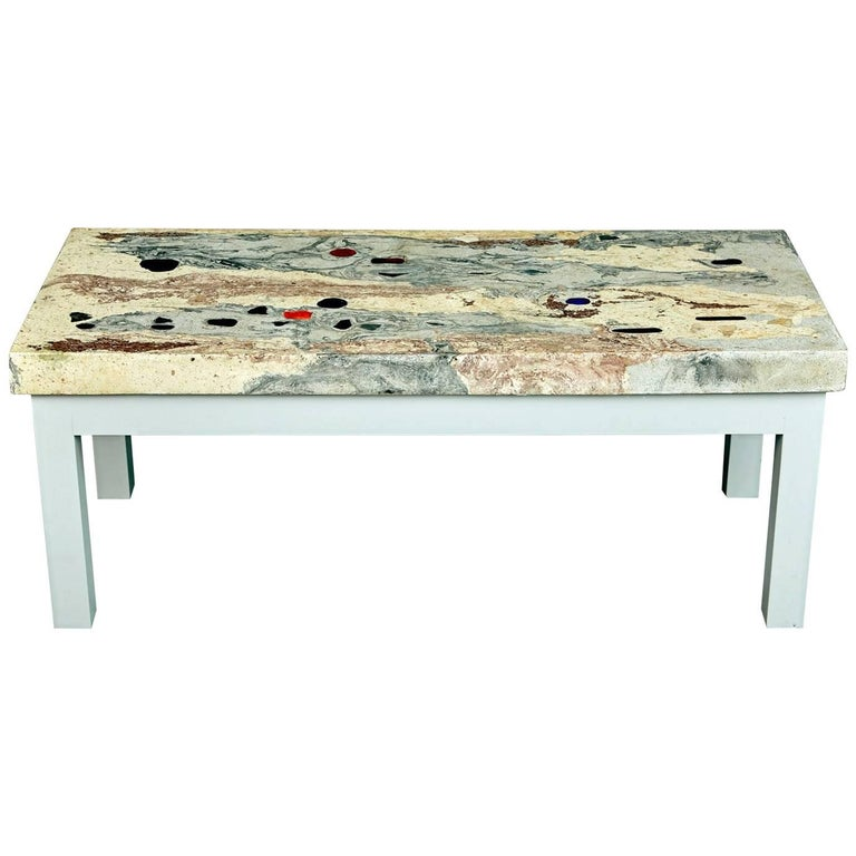 save off cfdad 5d0fa Post Modern Illuminated Rose, Pink and Grey Marbleized Concrete Coffee Table