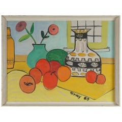 Brightly Colored Still Life Painting with Oranges