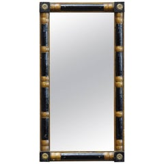 Early 20th Century Small Black Lacquer and Gilt Wall Mirror