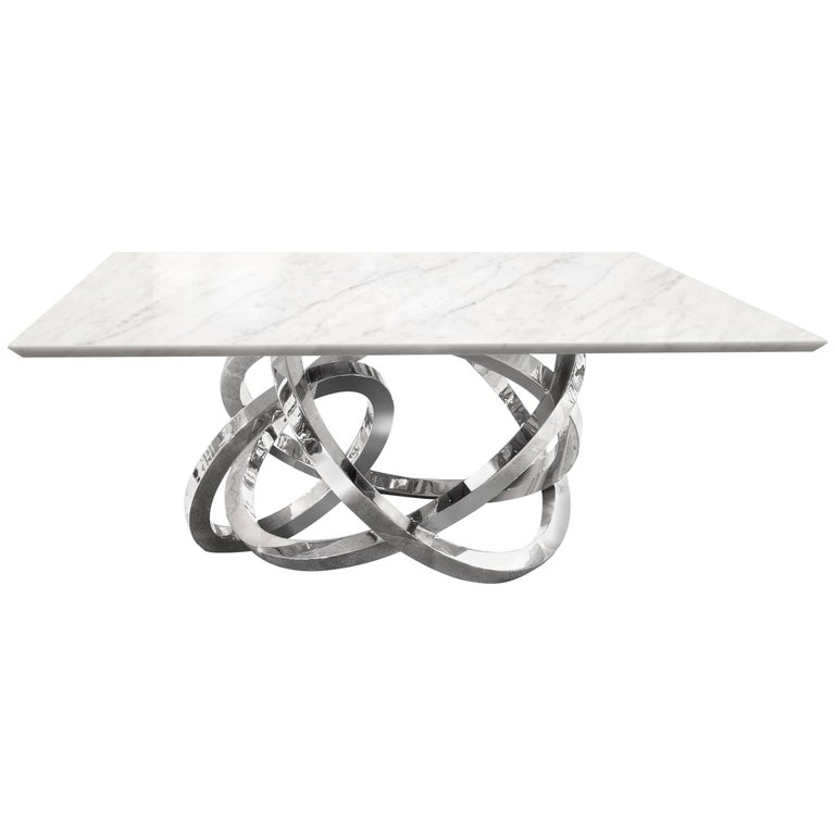 Dining Table Modern Square White Marble Steel Italian Limited Edition Design