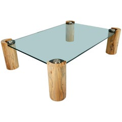 Karl Springer Macassar Wood, Bronze, Chrome and Glass Coffee Table