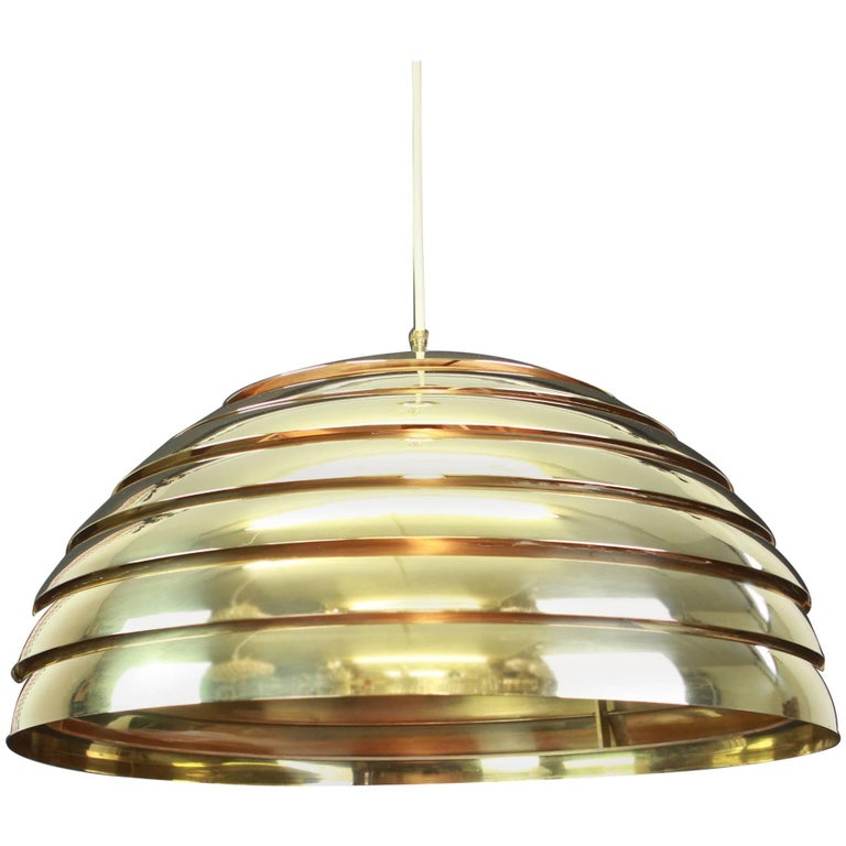 Large Brass Dome Pendant Light by Florian Schulz, Germany For Sale
