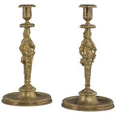 Fine Pair of Louis XIV Style Gilt-Bronze Figural Candlesticks