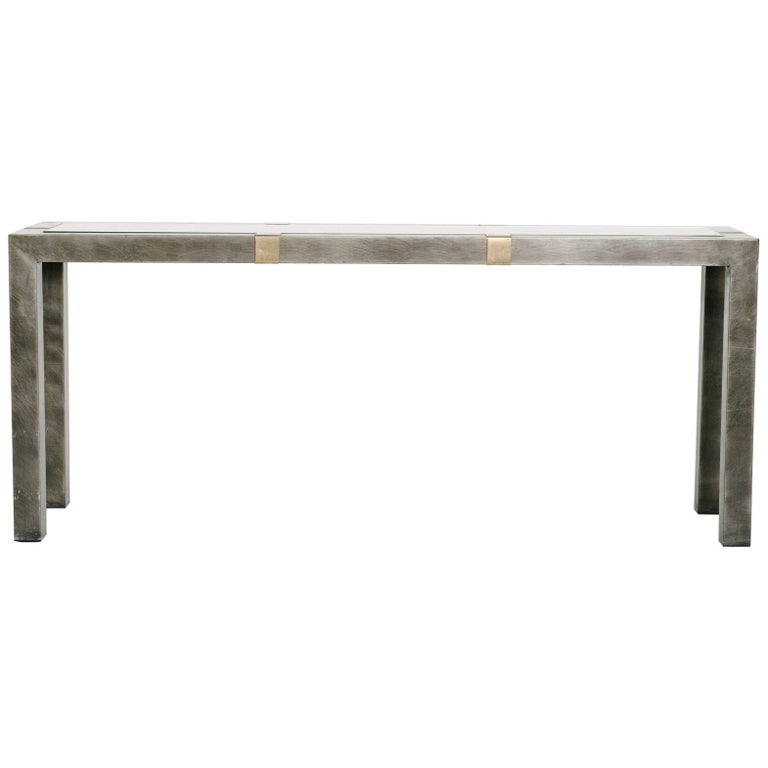 Steel Brass and Wood Console