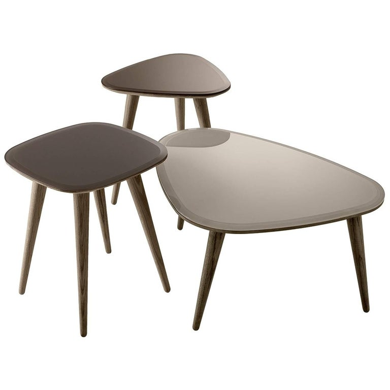 Fifties Side Table in Solid Wood and Back-Painted Glass by Gallotti & Radice
