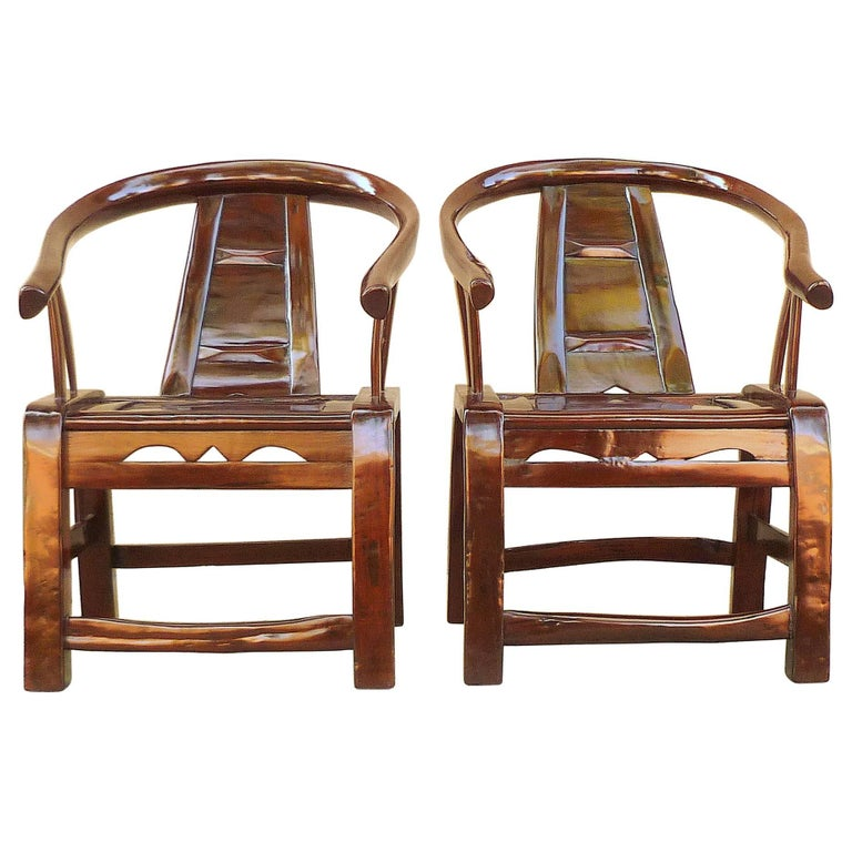 Pair of Elm Wood Children Armchairs