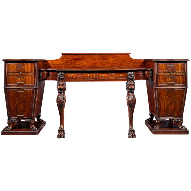 Regency Mahogany Pedestal Sideboard