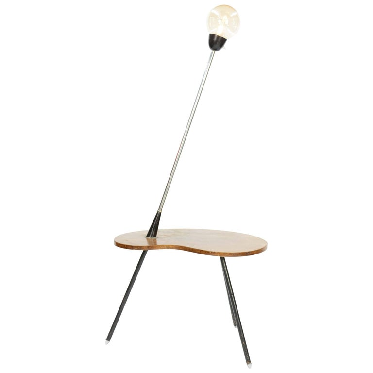 Extraordinary Cocktail Table Floor Lamp with Walnut Biomorphic, Tabletop For Sale