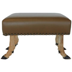 Antique Leather and Deer Hoof Footstool