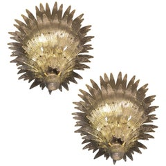 "Pair of Majestic Murano Chandeliers ""Palmette"""