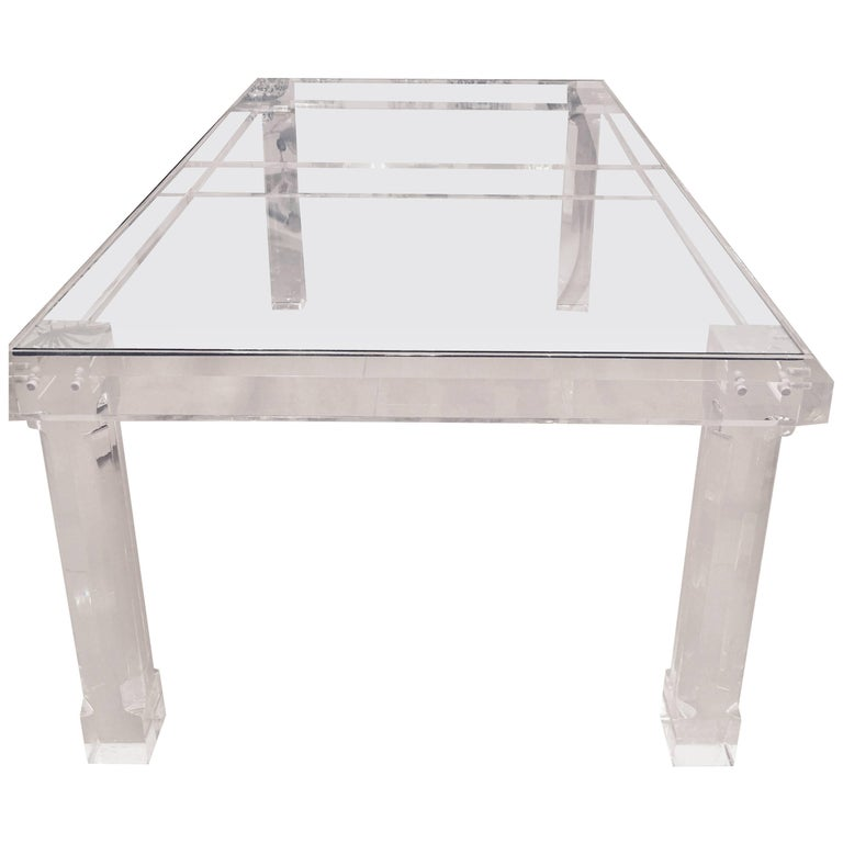 Lucite Dining Table Signed VJJ 1978 Column Legs Thick  : 8932853master from www.1stdibs.com size 768 x 768 jpeg 30kB