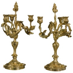 Pair of Rococo Revival Convertible Candlesticks/Candelabra, by Henry Dasson