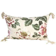 1950s-1960s Vintage English Large-Scale Print Magnoliias Cotton Tasselled Pillow