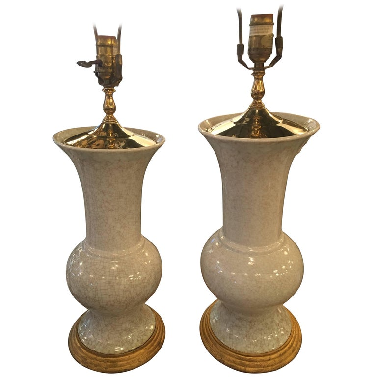 Pair of Crackle Glaze Ceramic Table Lamps Pagoda Brass Top Palm Beach