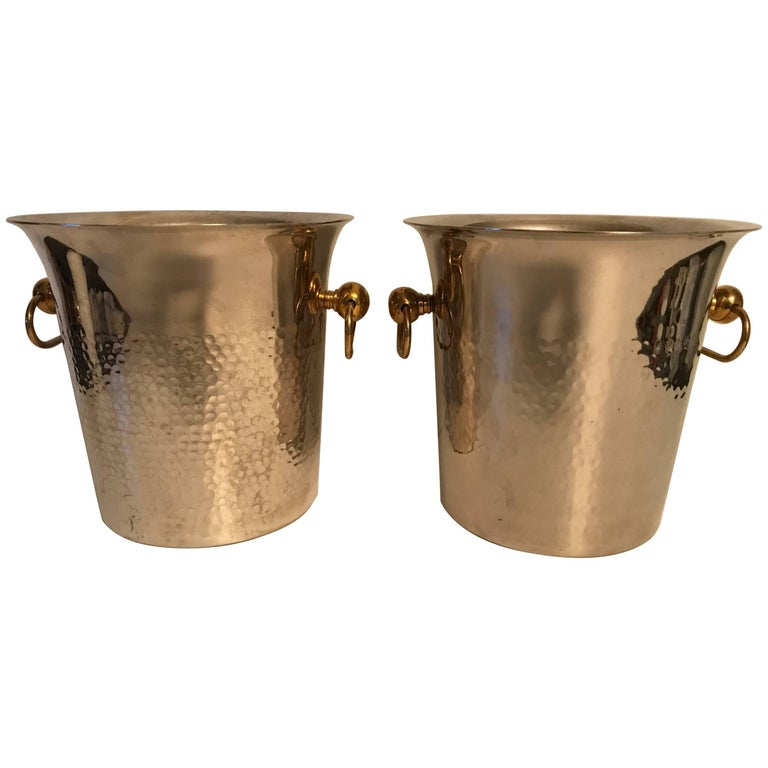 Pair of Hammered Swedish Silver Plate and Brass Champagne Wine Coolers
