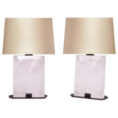 Pair of Block form Rock Crystal Quartz Lamps