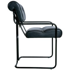Black Leather on Black Frame Tucroma Chair by Guido Faleschini
