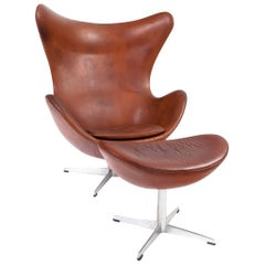 Arne Jacobsen Egg Chair with Ottoman in Patinated Leather