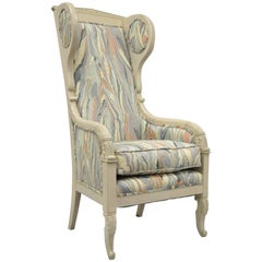 High Back French Empire Neoclassical Style Wingback Lounge Chair Marbled Fabric