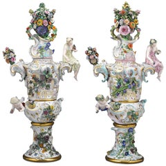 Meissen Autumn and Summer Porcelain Urns