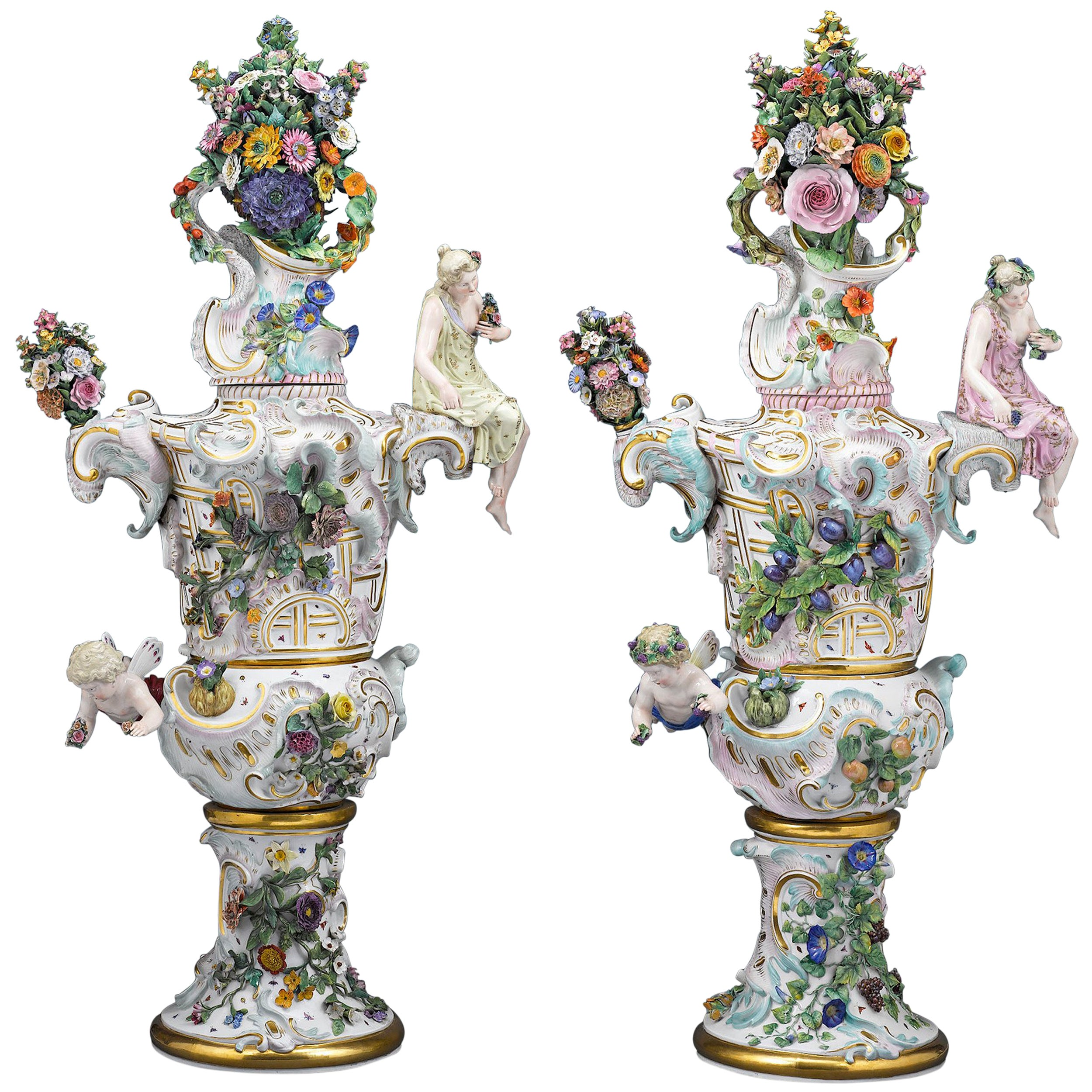 Meissen Autumn and Summer Porcelain Urns