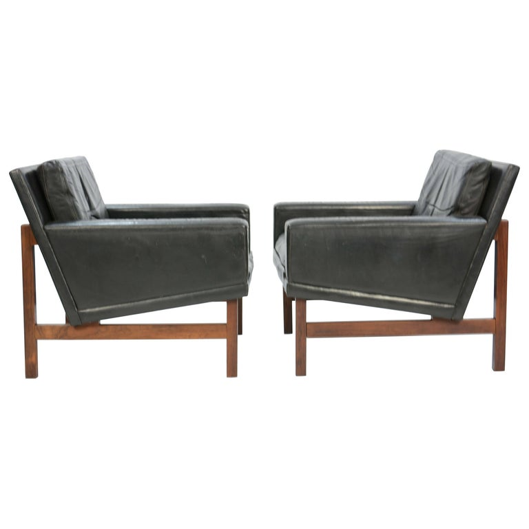 Pair of Distressed Leather Club Chairs with Rosewood Frames by Sven Ellekaer For Sale