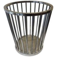 Steel Wastebasket by Jacques Adnet, 1930