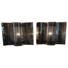 Rare Pair of Swedish Brass Wall Lamps or Wall Sconces Made by Hemi, circa 1960