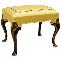 Gold Decorated Black Lacquered Bench Covered in Yellow Moire Fabric
