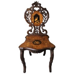 19th Century Black Forest Carved Chair with Inlay