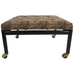Michael Taylor for Baker Ottoman or Footstool on Brass Casters