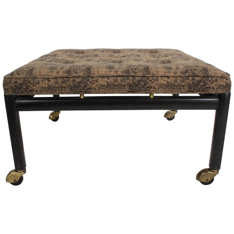 Michael Taylor for Baker Ottoman or Footstool on Brass Casters For Sale