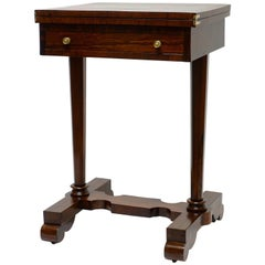 English Regency Rosewood and Leather Game Table