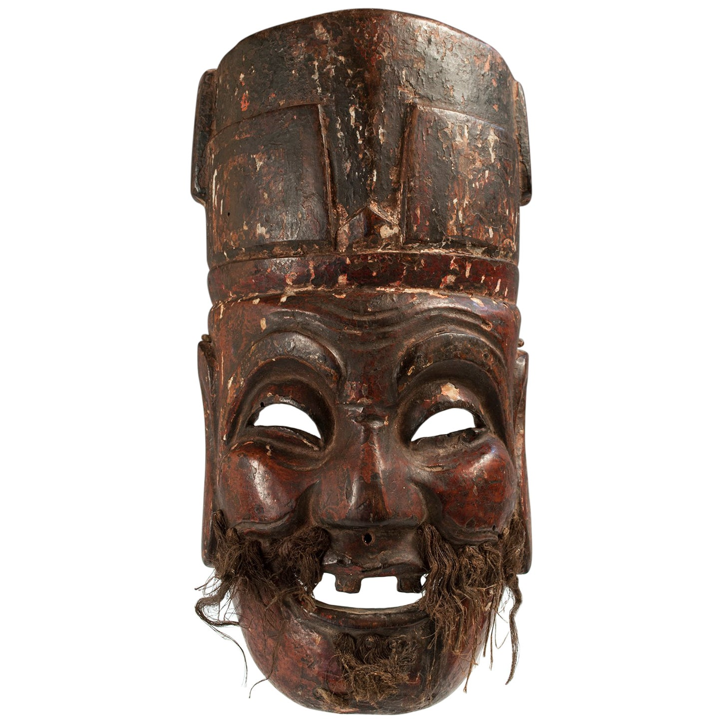 Late 19th-Early 20th Century Tribal Carved Wood Nuo Theater Mask, China