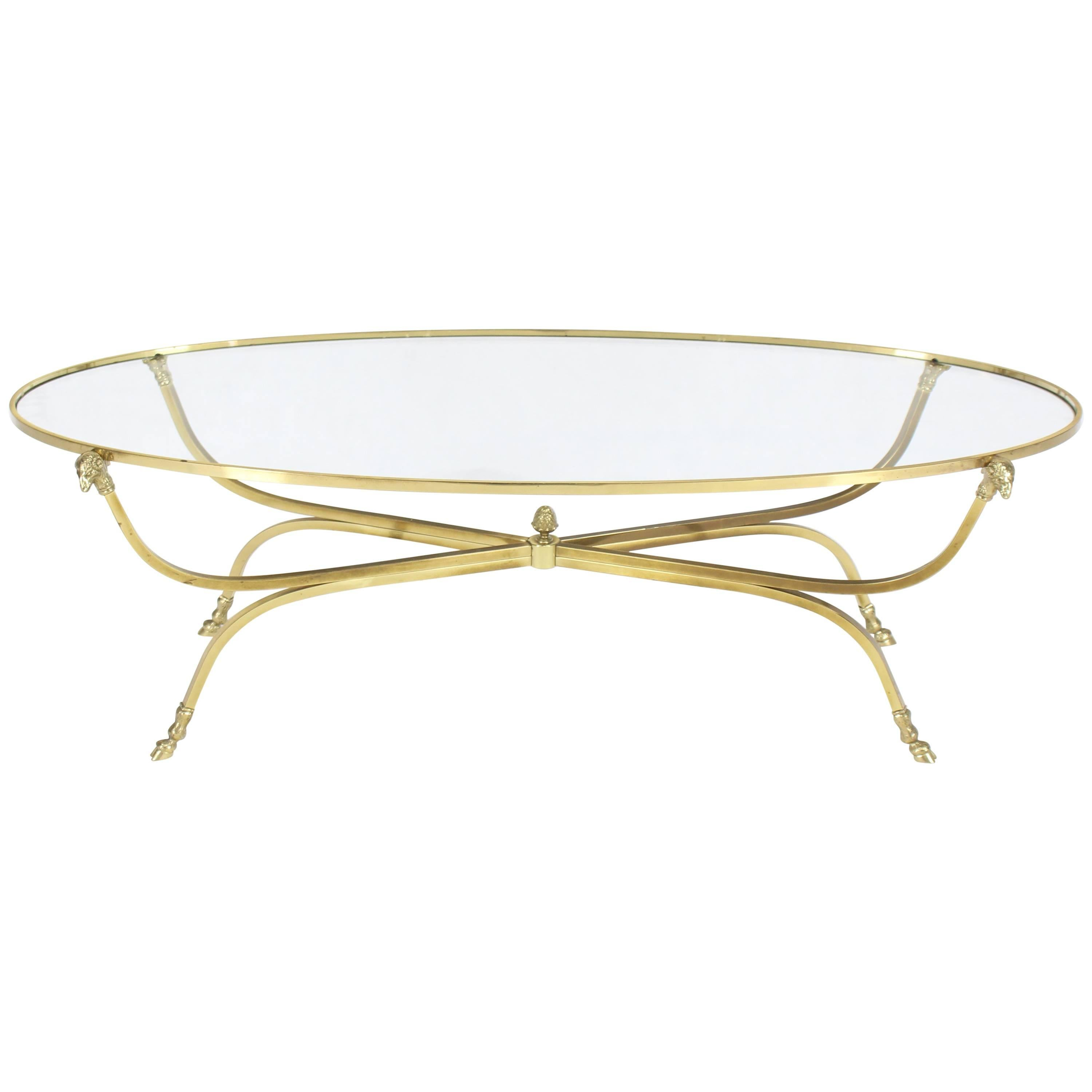 Large Oval Polished Brass Glass Top Coffee Table On Hoof Foot For Sale