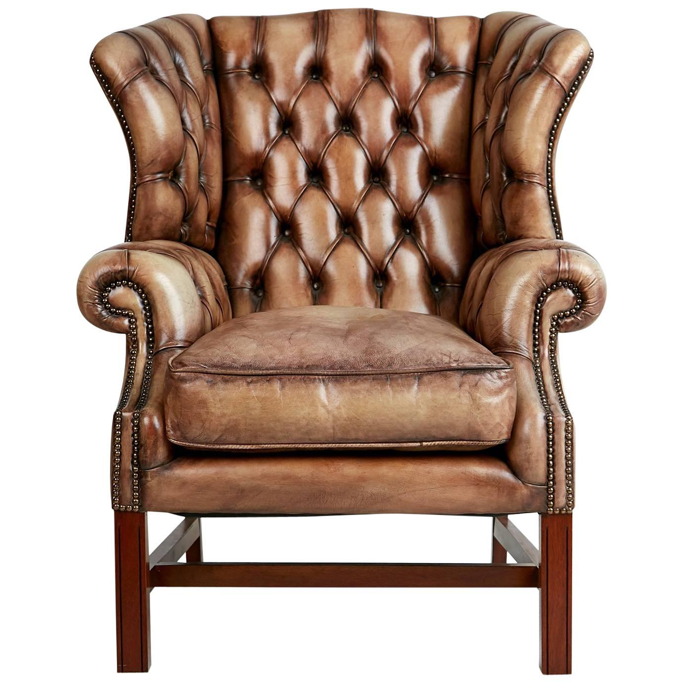 English Tufted Leather Wingback Library Lounge Armchair