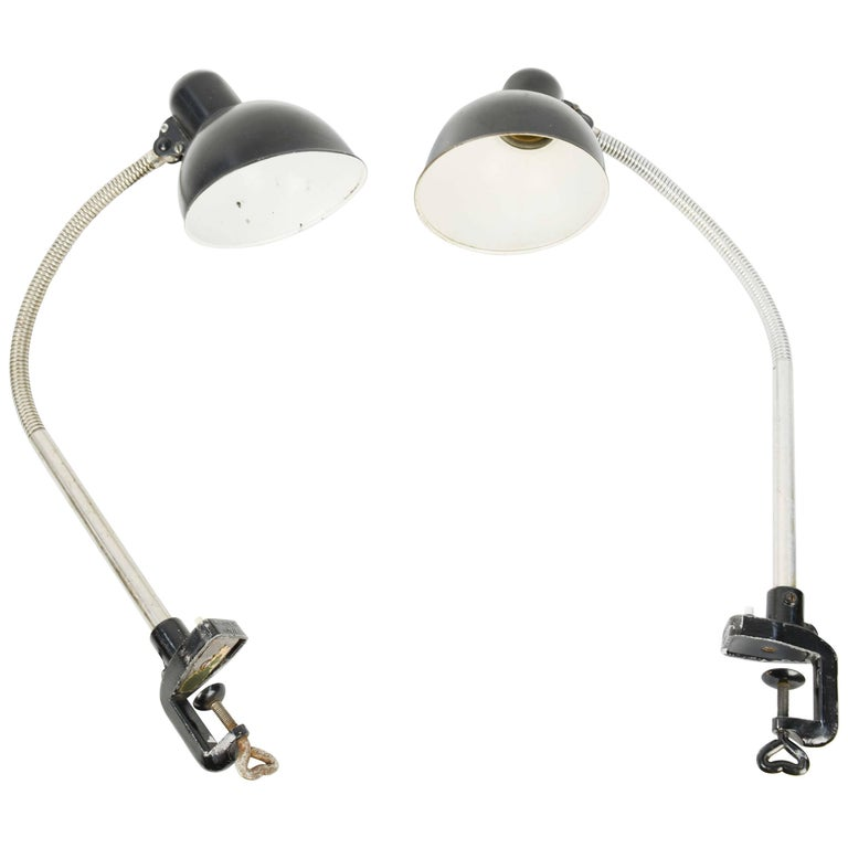 Pair of Christian Dell Architect's Clamp Desk Lamps for Kaiser of Germany For Sale